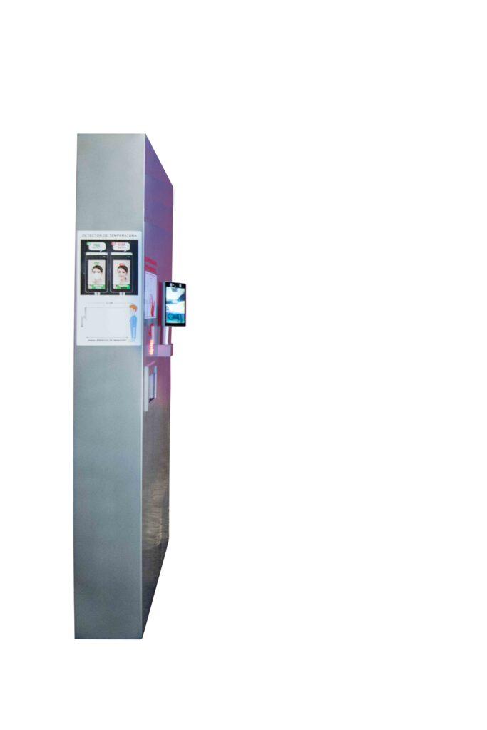 pilar de prevencion frente al covid19 desinfeccion dispensador de hidrogel reconocimiento de temperatura